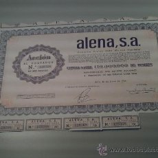 Coleccionismo Acciones Españolas: ALENA S.A. - ACCION QUINIENTAS PTAS. 1966 Nº 129368 - BATA (GUINEA ESPAÑOLA). Lote 36424384