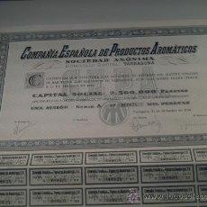 Coleccionismo Acciones Españolas: CIA. ESPAÑOLA DE PRODUCTOS AROMATICOS S.A. - ACCION MIL PTAS. 1940 Nº 000624 SERIE A. Lote 36424490