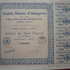 Coleccionismo Acciones Españolas: ALMERIA.- ACCION LIBERADA DE SOCIETÉ MINIERE D'ALMAGRERA S.A., 7-8-1900.. Lote 36579039