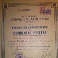 Coleccionismo Acciones Españolas: RARISIMA ACCION DE 500 PESETAS DEL CASINO DE ALQUERIAS MURCIA 1960. Lote 36639196