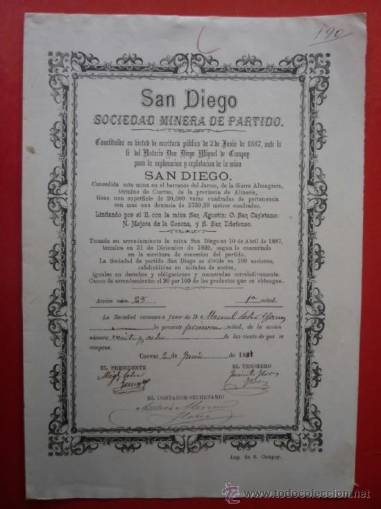 CUEVAS (ALMERIA).- 'SAN DIEGO' SOCIEDAD MINERA DE PARTIDO AÑO 1887..- (Coleccionismo - Acciones Españolas)
