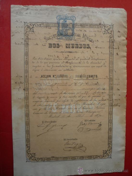 CUEVAS (ALMERIA).- SOCIEDAD ESPECIAL MINERA 'DOS MUNDOS', AÑO 1874..- (Coleccionismo - Acciones Españolas)