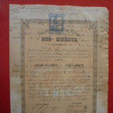 Coleccionismo Acciones Españolas: CUEVAS (ALMERIA).- SOCIEDAD ESPECIAL MINERA 'DOS MUNDOS', AÑO 1874..-. Lote 36880328