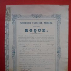 Coleccionismo Acciones Españolas: CUEVAS (ALMERIA).- SOCIEDAD ESPECIAL MINERA TITULADA 'ROQUE', AÑO 1867..-. Lote 36880381
