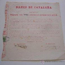 Coleccionismo Acciones Españolas: RESGUARDO DE ACCIÓN DEL BANCO DE CATALUÑA SERIE B BARCELONA 1885. Lote 36908731