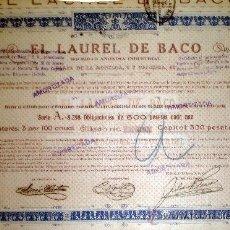 Coleccionismo Acciones Españolas: 1925.- OBLIGACION AMORTIZABLE DE 500 PTS. DE EL LAUREL DE BACO, S.A. INDUSTRIAL..ORLA COLOR AZUL.. Lote 37007872