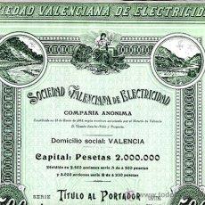 Collectionnisme Actions Espagne: ACCION SOCIEDAD VALENCIANA DE ELECTRICIDAD , 190..., SIN FIRMAS , ORIGINAL ,AC508. Lote 37009258