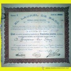 Coleccionismo Acciones Españolas: 1925.- ACCION-TITULO NOMINATIVO Y TRANSFERIBLE DE 250 PTS. DE EL LAUREL DE BACO S.A. INDUSTRIAL. . Lote 37007234