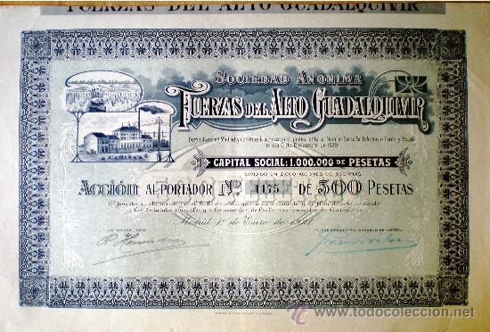 1921.- ACCION DE 500 PTS. DE FUERZAS DEL ALTO GUADALQUIVIR, S.A. ORLAS Y GRECAS AZUL CON FONDO AZUL (Coleccionismo - Acciones Españolas)