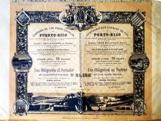1902.- OBLIGACION AL PORTADOR DE 500 FRANCS. AL 3 % DE COMPAÑÍA DE LOS FERROCARRILES DE PUERTO RICO (Coleccionismo - Acciones Españolas)