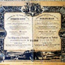 Coleccionismo Acciones Españolas: 1902.- OBLIGACION AL PORTADOR DE 500 FRANCS. AL 3 % DE COMPAÑÍA DE LOS FERROCARRILES DE PUERTO RICO. Lote 37039754
