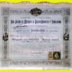 Coleccionismo Acciones Españolas: 1901.- OBLIGACION DE 500 PTS.CIA. DEL FF.CC. SAN JULIAN DE MUSQUES A CASTRO URDIALES Y TRANLAVIÑA . Lote 37047756