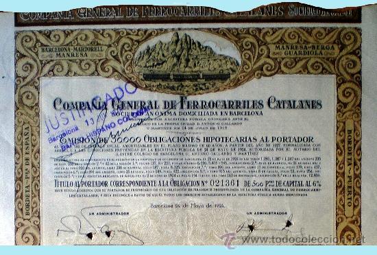1924.- OBLIGACION HIPOTECARIA DE 500 PTS. AL 6 % DE COMPAÑÍA GENERAL DE FERROCARRILES CATALANES SA (Coleccionismo - Acciones Españolas)