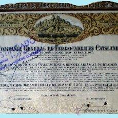 Coleccionismo Acciones Españolas: 1924.- OBLIGACION HIPOTECARIA DE 500 PTS. AL 6 % DE COMPAÑÍA GENERAL DE FERROCARRILES CATALANES SA . Lote 37063777