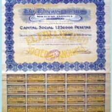 Coleccionismo Acciones Españolas: 1927.- OBLIGACION HIPOTECARIA AL PORTADOR DE 500 PTAS. AL 6 % DE EL FINANCIERO, S.A. CON CUPONES. Lote 37070103