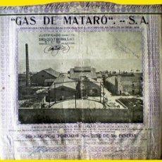 Coleccionismo Acciones Españolas: 1923.- OBLIGACION HIPOTECARIA DE 500 PTAS. DE GAS MATARO, S.A. .CUPONES. . Lote 37075067