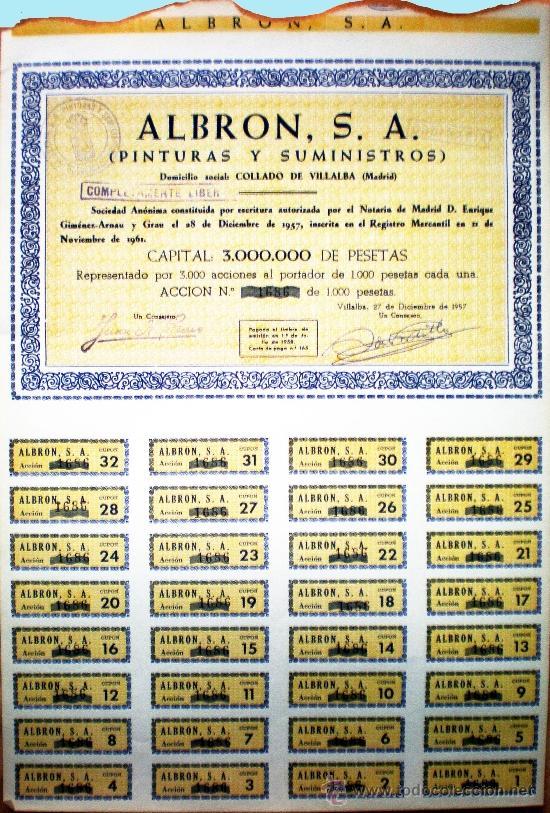 1957-65.- 4 TITULOS ACCION DE 1000 PTS. DE ALBRON, S.A. COMPLETA 32 CUPONES.PINTURAS Y SUMINISTROS. (Coleccionismo - Acciones Españolas)