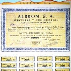Coleccionismo Acciones Españolas: 1957-65.- 4 TITULOS ACCION DE 1000 PTS. DE ALBRON, S.A. COMPLETA 32 CUPONES.PINTURAS Y SUMINISTROS. . Lote 37095986