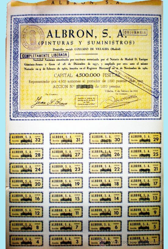Coleccionismo Acciones Españolas: Capital 4,500.000 Pts. - Foto 2 - 37095986