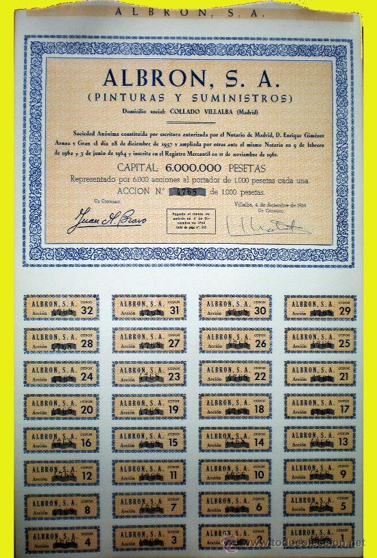 Coleccionismo Acciones Españolas: Capital 6,000.000 Pts. - Foto 3 - 37095986