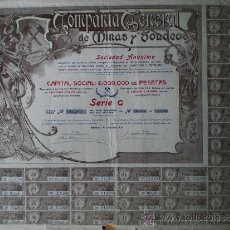 Coleccionismo Acciones Españolas: 1905.- TITULO DE 10 ACCIONES DE 50 PTS. CADA UNA DE LA COMPAÑÍA GENERAL DE MINAS Y SONDEOS, S.A. . Lote 37143940