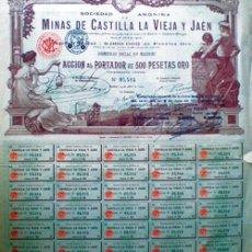 Coleccionismo Acciones Españolas: 1902.- ACCION AL PORTADOR DE 500 PTAS. ORO DE MINAS DE CASTILLA LA VIEJA Y JAEN, S.A. CON 35 CUPONE. Lote 125432148