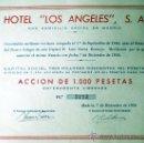 """Coleccionismo Acciones Españolas: 1950.- ACCION DE 1.000 PTS. DE HOTEL """"LOS ANGELES"""", S.A.. . Lote 37159814"""