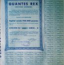 Coleccionismo Acciones Españolas: 1942.- ACCION DE 500 PTS. AL PORTADOR Y LIBERADAS, CAPITAL SOCIAL 750.000 PTAS. DE GUANTES REX, S.A. Lote 37171327