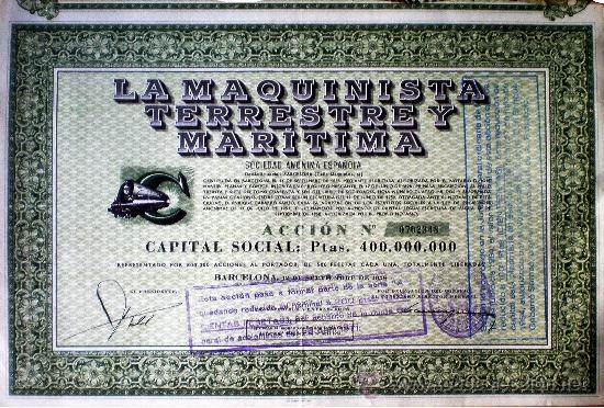 1958.- ACCION DE 500 PTS. DE LA MAQUINISTA TERRESTRE Y MARITIMA, S.A. SEDE SOCIAL BARCELONA. (Coleccionismo - Acciones Españolas)