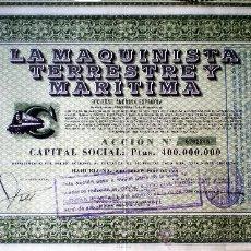 Coleccionismo Acciones Españolas: 1958.- ACCION DE 500 PTS. DE LA MAQUINISTA TERRESTRE Y MARITIMA, S.A. SEDE SOCIAL BARCELONA.. Lote 131162640
