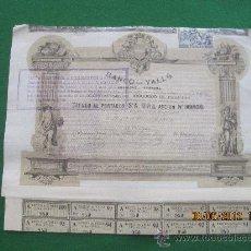 Coleccionismo Acciones Españolas: BANCO DE VALLS SA- 1 ACCION DE 500 PTS- VALLS 1882. Lote 37263336