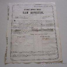 Coleccionismo Acciones Españolas: ACCIÓN SOCIEDAD ESPECIAL MINERA SAN AGUSTIN CARTAGENA 1860? (SOLO 82 ACCIONES EMITIDAS). Lote 37317511