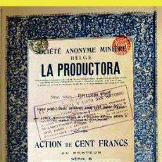 Coleccionismo Acciones Españolas: 1912.-ACTION DE 100 FR. DE S.A. MINERA BELGA