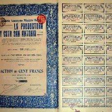 Coleccionismo Acciones Españolas: 1913.-ACTION DE 100 FR. DE S.A. MINERA BELGA