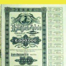 """Coleccionismo Acciones Españolas: 1916.- ACCIÓN DE 50 PTAS. DE """"LAS ARGENTIFERAS DE CORDOBA, S.A."""" CON SEDE EN BILBAO.. Lote 37456236"""