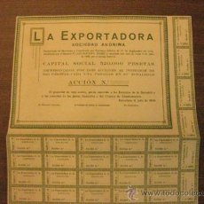 Coleccionismo Acciones Españolas: ACCION SIN IMPRIMIR. LA EXPORTADORA S.A. BARCELONA 3 DE JULIO DE 1920. Lote 37536595