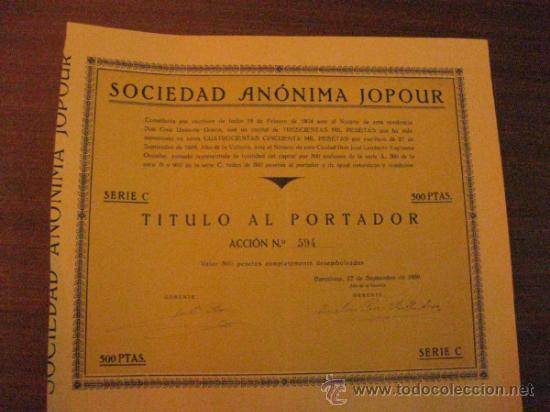 ACCION- SOCIEDAD ANONIMA JOPOUR. SEPTIEMBRE 1939. (Coleccionismo - Acciones Españolas)