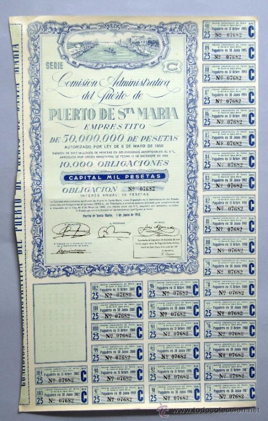 ACCIÓN COMISIÓN ADMINISTRATIVA DEL PUERTO DE SANTA MARÍA 9 MAYO 1950 (Coleccionismo - Acciones Españolas)