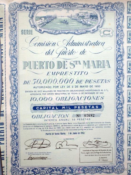 Coleccionismo Acciones Españolas: Acción Comisión Administrativa del Puerto de Santa María 9 mayo 1950 - Foto 2 - 37713585