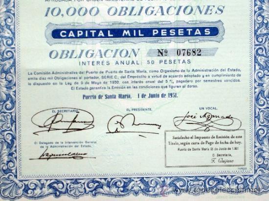 Coleccionismo Acciones Españolas: Acción Comisión Administrativa del Puerto de Santa María 9 mayo 1950 - Foto 4 - 37713585