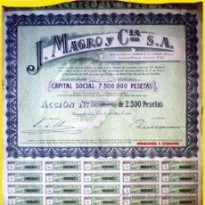 Coleccionismo Acciones Españolas: 1946.-ACCION (INTRANSFERIBLE A EXT.) DE 2500 PTS. J. ALMAGRO Y CIA, S.A. CON CUPONES Y ORLA VERDE.. Lote 37947275