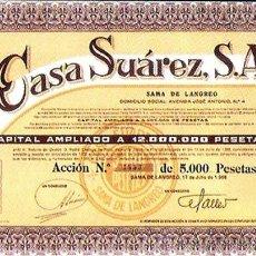Coleccionismo Acciones Españolas: 1968.- ACCION DE 5.000 PTS. CAP. 12.000.000 DE PTAS. CASA SUAREZ, S.A. SAMA DE LANGREO. Lote 37963467