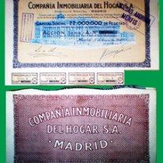 Coleccionismo Acciones Españolas: 1947.- ACCION DE 500 PTS. CAP. 22 MM DE PTAS. COMPAÑIA INMOBILIARIA DEL HOGAR, S.A. . Lote 37964395