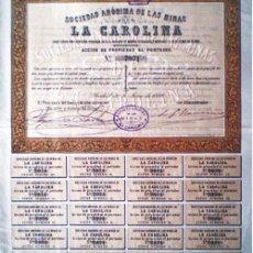 """Coleccionismo Acciones Españolas: 1886.- ACCION PROPIEDAD AL PORTADOR DE LA S. A. DE LAS MINAS """"LA CAROLINA"""", COMPLETA CON 20 CUPONES.. Lote 38006710"""