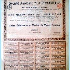 """Coleccionismo Acciones Españolas: 1908.- ACTION ORDINAIRE SIN MENCIÓN DE NOMINAL AL PORTEUR, DE SOCIETE ANONYME """"LA ROMANILLA"""" .. Lote 38024831"""