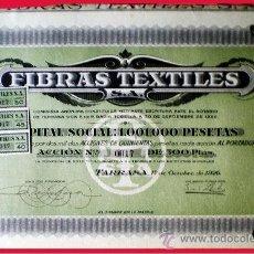 Coleccionismo Acciones Españolas: 1926.- ACCION DE 500 PTS. DE FIBRAS TEXTILES, S.A., SEDE EN TARRASA CON 3 CUPONES. . Lote 38056278
