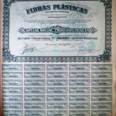 Coleccionismo Acciones Españolas: 1954.- ACCION ORDINARIA DE 500 PTS. DE FIBRAS PLASTICAS, S.A. SEDE SOCIAL EN MADRID, CON 35 CUPONES.. Lote 38056725