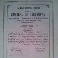 Coleccionismo Acciones Españolas: SOCIEDAD ESPECIAL MINERA EMPRESA DE CARTAGENA BARRANCO FRANCES SIERRA ALMAGRERA ALMERIA 1861. Lote 38068256
