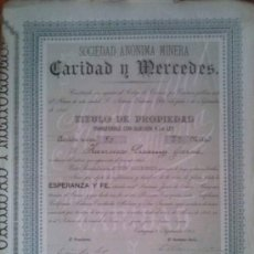 Coleccionismo Acciones Españolas: SOCIEDAD ANONIMA MINERA CARIDAD Y MERCEDES CARTAGENA BARRANCO JAROSO SIERRA ALMAGRERA ALMERIA 1893. Lote 38068319