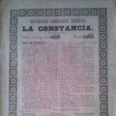 Coleccionismo Acciones Españolas: SOCIEDAD ESPECIAL MINERA LA CONSTANCIA MURCIA 1872 SIERRA ALMAGRERA ALMERIA. Lote 38068398
